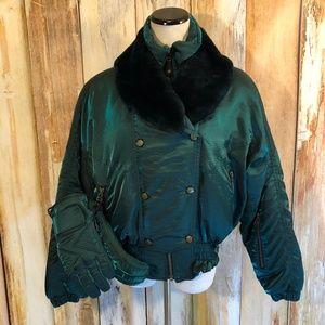 Vtg Nils Skiwear Green Down Jacket & Gloves 80s